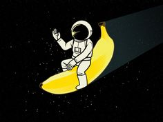 Amazing Banana designed by Nicholas Roberts. Banana Art, Funny Drawings, Man On The Moon, T Shirt Image, Good Night Moon, Retro Logos, Bottle Design, Diy Art, Illustrations Posters