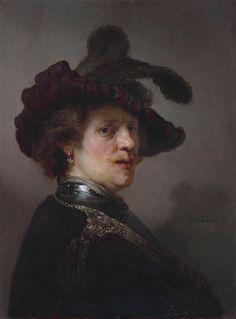 Рембрандт Харменс ван Рейн Портрет мужчины в берете с пером (Автопортрет) ок.1635  Tronie of a man with a feathered beret, by Rembrandt  Маурицхёйс, Гаага