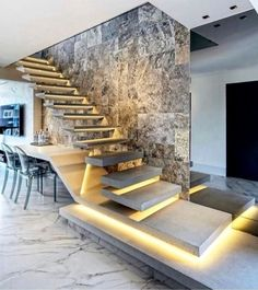 Arqui em 2019 luxury staircase, staircase design e house stairs. Home Stairs Design, Interior Stairs, Modern House Design, Interior Architecture, Stair Design, Lobby Interior, Luxury Staircase, Modular Staircase, Escalier Design