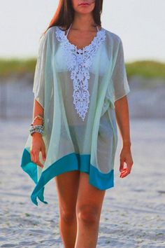 Lace Splicing Loose Beach Short Sleeve T-shirt