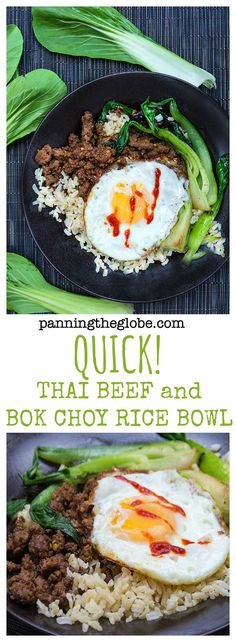 Quick Thai Beef Bok Choy Rice Bowl: a very quick and easy stir fry with Thai flavors.