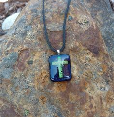 Dichroic Fused Glass Pendant, Green Cross, Handmade Necklace