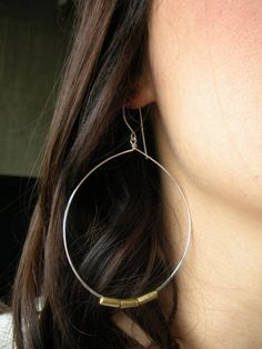 Silver and Brass Large Hoop Earrings