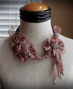 BLUSH Rose Textile Statement Necklace by carlafoxdesign on Etsy, $245.00