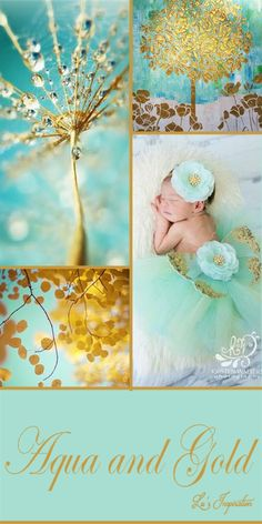 Lu is not available to pin right now, but she left this beautiful collage and example pins for us. Let's do AQUA & GOLD.