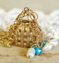Romantic necklace aqua marine and pearls unique by iloniti on Etsy, $56.00