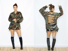 Vintage distressed camouflage army fatigue jacket. Available in all sizes. These vintage army jackets are in unisex adult sizes so they do run big. All jackets and patches vary. Please write desired size at checkout. *I suggest everyone go down one size from your normal size or write