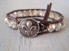 Leather wrap bracelet French Country Fleur De Lis by slashKnots, $45.00