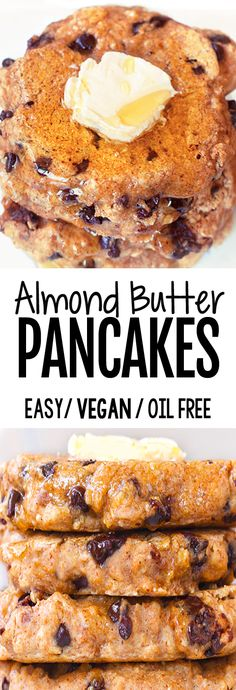 Super Healthy Almond Butter Pancakes (Oil Free, Vegan, 5 Ingredients) 3 points per pancake Based on 5 pancakes Vegan Keto, Low Calorie Vegan, Paleo Diet, Easy Baking Recipes, Whole Food Recipes, Vegan Recipes, Cooking Recipes, Pie Recipes, Butter Pancake Recipe