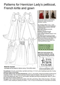 Pattern for Tudor/Henrician Ladies' Petticoat, French Kirtle and Gown - Small Sizes