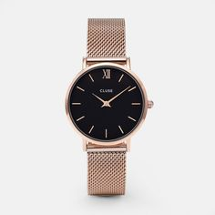 e28563b4f85 Order theCLUSE Minuit Mesh Rose Gold Black ladies watch now in the official CLUSE  store!