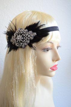 LAST ONE,Black headpiece,Black feather Flapper,1920s headpiece,1930s headpiece,Gatsby feather flapper,rhinestone flapper