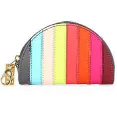 6538c5b31155 Fulfilled by  Saks Fifth Avenue - Rainbow stripes color curved leather coin  purse - Top zip closure - Goldtone hardware - Leather lining - X - Leather  - ...