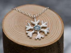 Blue Topaz Snowflake Necklace Pendant on Fine Silver Chain £50.00