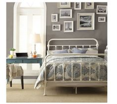 Victorian Bed Frame Queen Antique Distress White Iron Metal Headboard Footboard #Colonial