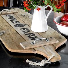 Love antique cutting boards? Me too!  Since I can't find any, I made my own oversized version with old fence planks and a fun @oldsignstencils!  Part of a #repurposeitchallenge. Visit all 8!  #funkyjunkinteriors