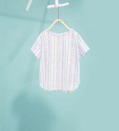 Изображение 1  от Тениска на разнородно райе  от Zara