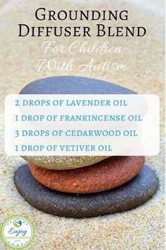 Oils for Autism Grounding diffuser blend for children with autism. Learn more about the power of essential oils for autism!Grounding diffuser blend for children with autism. Learn more about the power of essential oils for autism! Essential Oils For Autism, Grounding Essential Oil, Essential Oils For Colds, Patchouli Essential Oil, Essential Oil Diffuser Blends, Doterra Grounding Blend, Cedarwood Oil, Diffuser Recipes, Perfume
