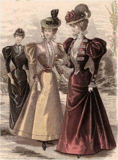 Image result for 1880-1899. Trajes de invierno. Figurines del El salón de la moda y otros.