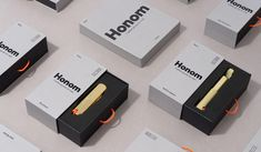Visual identity and packaging design by Folch for Honom, DOIY's new range of products for men. Opinion by Richard Baird. Print Packaging, Box Packaging, Packaging Design, Electronic Packaging, Mobile App Design, Visual Identity, Design Art, Box Design, Graphic Design