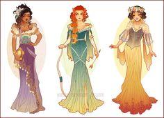 Postales de princesas de Nouveau del arte por NeverBirdDesigns