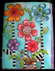 """""""Whimsy Blooms"""" art journal ... via JoanneS@41"""