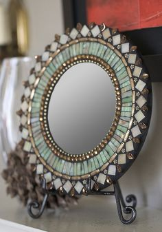 Jade Bronze Mirror by Zetamari Mosaics Mirror Mosaic, Mosaic Diy, Mosaic Crafts, Mosaic Projects, Mosaic Glass, Mosaic Tiles, Mosaic Wall, Mosaics, Stained Glass Birds