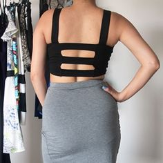 Black Crop Top  Size small Charlotte Russe crop top with caged back ! Perfect for any spring /summer outfit  Charlotte Russe Tops Crop Tops