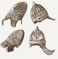 Dacian Helmets from the base of the Trajans column. Drawing made after the sketches made by late-Renaissance Italian artist, Giovanni Batista Piranesi. Liberia Africa, European Tribes, Trajan's Column, Ornament Drawing, Arm Armor, Ancient Symbols, Military Weapons, Italian Artist, Ancient Civilizations