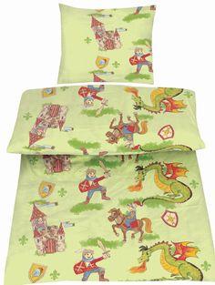Bettwäsche 135x200 cm Baumwolle Kinder Ritter grün Ritterburg Pferd Drache Junge