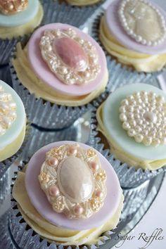 Vintage Brooch Cupcakes Cake by SugarRuffles