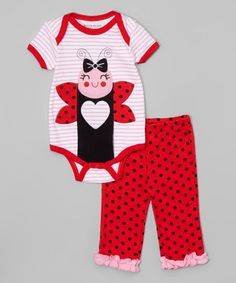 This Red & Black Ladybug Bodysuit & Polka Dot Pants - Infant is perfect! #zulilyfinds