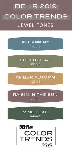 Jewel tones are all the rage when it comes to interior design. Luckily, this Behr 2019 Color Trends palette is sure to please with vibrant shades of blue, golden yellow, plum purple, and green. Behr Colors, Wall Colors, House Colors, Yellow Paint Colors, Yoga Studio Design, Dark Interiors, Colorful Interiors, Painting Tips, House Painting