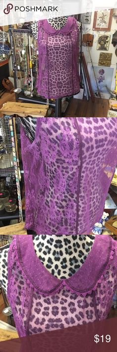 """Arizona Jeans Co. Victorian Lace Blouse Size XL Victorian lace and spotted Swiss Sheer top. Dark fuchsia/ dark rose color. You can dress this one up or do some jeans and boots to dress down.  Measurements taken laying flat  Armpit to armpit 20"""" x 2= 40""""  Shoulder to hem 23"""" Arizona Jean Company Tops Crop Tops"""