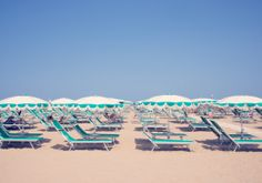 "Gray Malin - ""Rivazzurra Green and White Umbrellas with Tassels"" | #graymalin #maisongray"