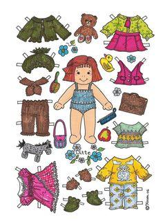Karen`s Paper Dolls: Ditte 1-2 Paper Doll in Colours. Ditte 1-2 påklædningsdukke i farver.