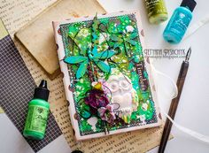 Scraps of Darkness scrapbook kits: DIY Mixed Media Notebook Cover with Ranger Vintaj Patinas Video Tutorial. Tanya SonataJoy created this beautiful journal cover with our Kathy's Nature Walk kit, and did a Youtube tutorial with her step by step process. Find our kits here: www.scrapsofdarkness.com