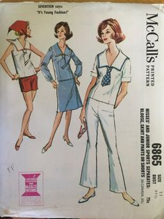 afbcafcbe1f1 1960 s Women s Sailor Outfit   Vintage Sewing Pattern   Bell Bottoms Pattern    McCall s 6865