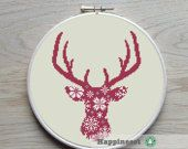 cross stitch pattern deer silhouette nordic style, reindeer,  PDF,  ** instant download**