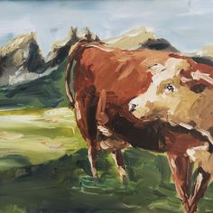 Simmental cattle   original oil painting wall decoration: cow portrait on the dolomites by IrishFamArt on Etsy Cow Painting, Oil Painting On Canvas, Dairy Cattle, Cow Art, People Art, Freelance Illustrator, Art Projects, Original Paintings, Art Gallery