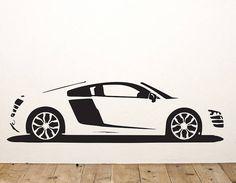 A replica vinyl wall sticker of an Audi R8 supercar!