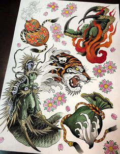 30 ideas tattoo old school traditional ideas flash art Asian Tattoos, Dog Tattoos, Small Tattoos, Sleeve Tattoos, Hand Tattoos, Traditional Japanese Tattoo Flash, Traditional Ideas, Flor Oriental Tattoo, Chinese Tattoo Designs