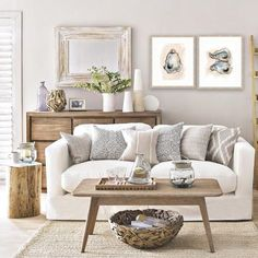 Neutral Coastal Living Room Decor Ideas with a Beach Vibe from House to Home - Coastal Decor Ideas and Interior Design Inspiration Images Coastal Living Rooms, Home Living Room, Living Room Designs, Coastal Cottage, Coastal Decor, Coastal Farmhouse, Cottage Living Room Decor, Apartment Living, White Couch Living Room