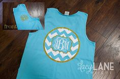 Comfort Colors monogrammed tank from www.facebook.com/lacylanedesigns