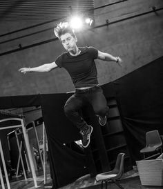 Ian Toner who plays Bennett catching some air in rehearsals of Punk Rock by Simon Stephens at the Lyric Theatre from 10 August - 06 September. Photo by Neil Harrison Photography