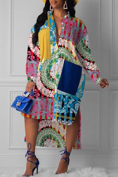 Lovely Trendy Turndown Collar Printed Multicolor Mid Calf Dress Women's Best Online Shopping - Offering Huge Discounts on Dresses, Lingerie , Jumpsuits , Swimwear, Tops and More. Trend Fashion, Look Fashion, Fashion Outfits, Thick Girl Fashion, Fashion Skirts, 1960s Fashion, Fashion Today, Fashion 2020, Fashion Online