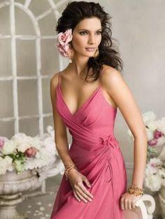 (NO.023426 )2012 Style Sheath / Column Spaghetti Straps  Hand-Made Flower Sleeveless Floor-length Chiffon Pink Bridesmaid Dress / Prom Dress / Evening Dress