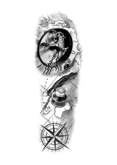 Chicano Tattoos Sleeve, Half Sleeve Tattoos For Guys, Map Tattoos, Arm Sleeve Tattoos, Tattoo Sleeve Designs, Travel Tattoos, Arrow Tattoos, Tatoos, Clock Tattoo Design