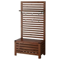 IKEA - ÄPPLARÖ Bench w/wall panel + shelf, outdoor brown stained Outdoor Furniture, Decor, Outdoor Storage Bench, Staining Wood, Outdoor Shelves, Furniture, Outdoor Flooring, Ikea, Wall Paneling
