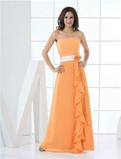 a-lijn oranje chiffon strapless bruidsmeisje jurk